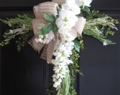 Natural Vines Cross, FREE SHIPPING, Cemetary Cross, Front Door Wreath, Mother's Day, White Wisteria, Burlap Bow, Handmade Wreath