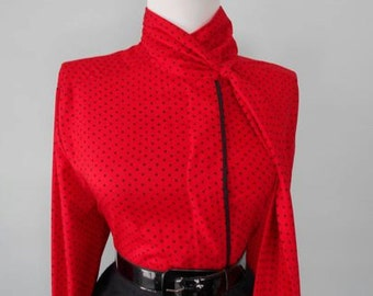 Flirty Vintage Red & Black Polka Dot 1950s 1960s Fitted Button Down Long Sleeve Blouse w Tie at the Neck