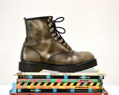 Amazing 90s Dr. Martens Boots Size Women 9 1/2 10 Silver Metallic // Vintage Metallic Doc Marten Grey Silver Boots UK Size 7 Made in England