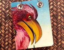 Upcycled Children's Book - Recycled Notebook - Small Refillable Notepad -  Pink Tropical Bird
