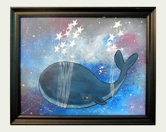 Kids Whale Art Original Whale Painting Whimsical Storybook Style Artwork Stars Starry Sky Cute Nursery Decor Framed 18 x 14 inch