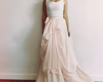 Brianna-Custom wedding skirt-Chiffon wedding skirt-Blush wedding skirt-nude bridal skirt-wedding skirt