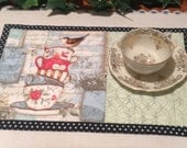 Mug Rug -  Quilted Snack Mat - Tea Cup Design - Candle Mat - Mothers Day Gift
