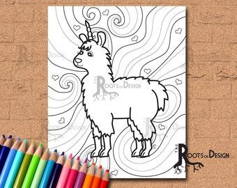 INSTANT DOWNLOAD Coloring Page -  Fun Llamacorn, doodle art, printable