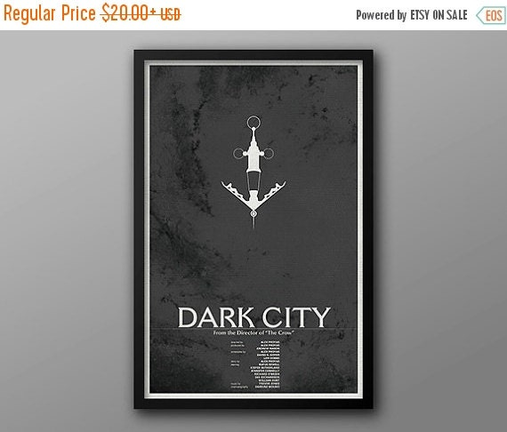 GEEKLOVE SALE Dark City, Vintage Movie Poster #2 // Vile and Needle with Spiral Galazy Background Illustration