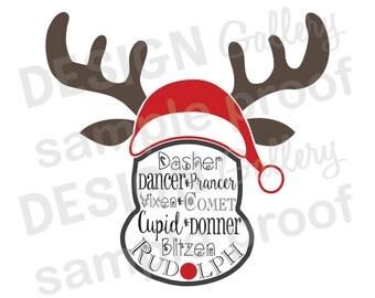 Rudolph Reindeer - SVG cut & JPG image files - Christmas Santa Red Nose - Printable Digital Iron On