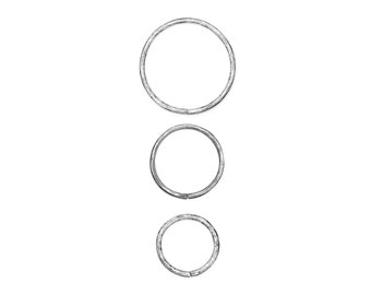 Hammered Gauged Hoops Silver
