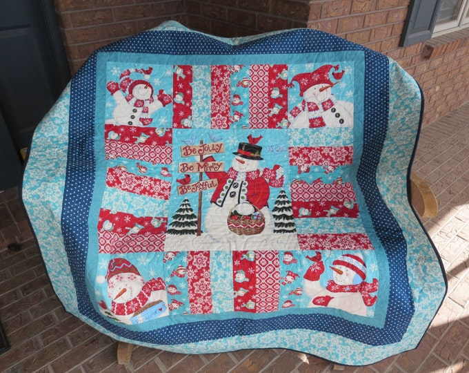 Featured listing image: Homemade Be Jolly Christmas Quilt - Made With Hard To Find Fabrics!