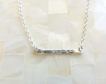 Minimal Style Hammered Sterling Silver Bar on Sterling Silver Chain Necklace (N1700)