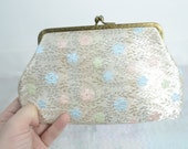 60s 50s silver metallic gold pastel floral coin purse pouch