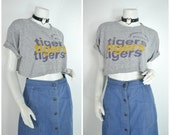 Vintage 90s 80s 70s athlethic grey gym tigers purple gold SUPER SOFT crop top