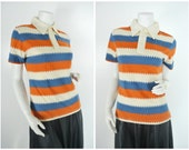 70s 80s zig zag chevron striped kawaii orange blue beige pointy collar shirt