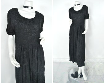 90s embossed floral brocade grunge maxi dress