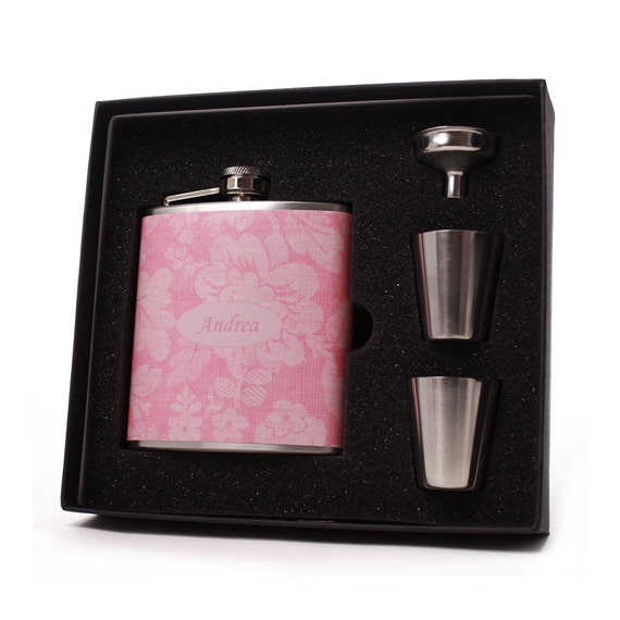 Personalized Pink Floral Flask for Women // 6oz Flask Set