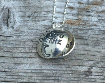 I love you  to the moon & back Locket, Mother's Necklace, Swarovski Crystal, Freshwater Pearl