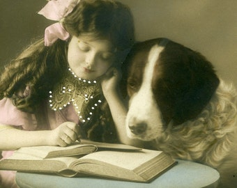 Vintage  Real Photo Postcard - Young Girl Reading with a Large Dog Sitting by her Side 1900-1920