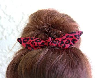 Hair Bow Knotted Bun Clip Hair Bows Red Black Cougar Print Girl Teen Women Hair Accessory French Barrette Alligator Clip Hair Ties