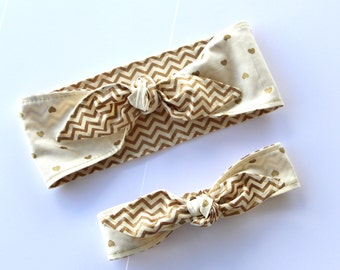 Rockabilly Mommy & Me Matching Gold Metallic Chevron over Hearts trimmed in Gold Metallic thread Baby Shower Gift Baby Woman Headband