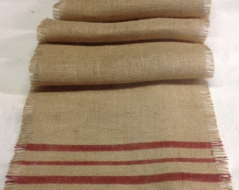 Burlap Table Runner Striped Rustic Red 10-14 x 72 to 96/Burlap Table Runner/Choice of Colors