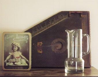 Glass Bar Pitcher, Martini Pitcher, Irish Coffee Pitcher, Vintage Heavy Large Hand Blown Glass Pitcher