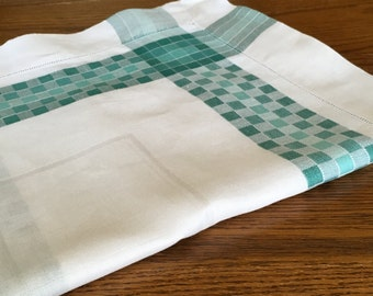 Vintage linen tablecloth white with green trim ladderwork edging