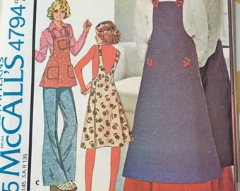 RARE 1975 McCall's  Sewing Pattern 4794 Misses Wrap Apron Dress Long or Short Size S-L cut- vintage sewing pattern, wrap dress, apron dress
