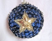 Christmas Ornament Star Red White and Blue Jeweled Ornament Vintage Hollywood Regency Sequins Beads Rare