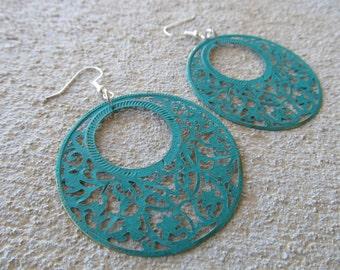 LARGE Green Earrings- BOLD earrings
