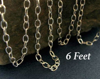 Sterling Silver Cable Chain - Charm Bracelet or Necklace Chain 6 FT -   5mm x 3.7mm Oval Links - CH44-6
