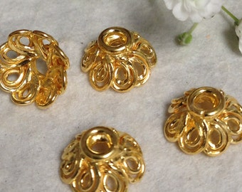 4 Vermeil Bead Caps with Loopy Scroll Designs - 8.1mm x 3mm  MB17