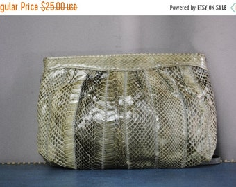 ON SALE 50% Vintage Teal SNAKE Skin Evening Bag