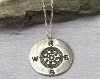 Silver Compass Necklace, Compass Pendant, Graduation Gift