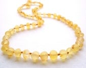 Maximum Effective Raw Unpolished Baltic Amber teething necklace for your baby handmade knotted .High quality amber.