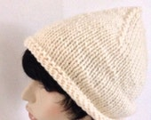 Hand knit Women's Wool and Mohair Beanie Hat, Little Pixie, super Chunky and Warm, cream Color