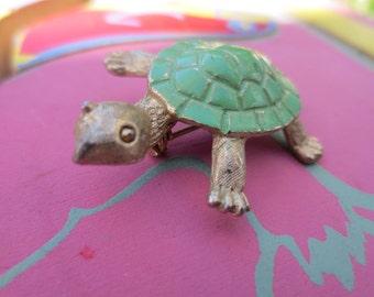 Vintage Costume Pin as Turtle