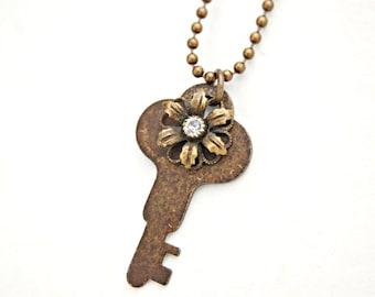 Crystal Flower Charm Necklace/ Key Jewelry/ Antique Key Necklace/ Repurposed Necklace/ Key Pendant Necklace Long Chain Necklace Antique Keys