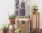 vintage tall wood plant stand with legs / planter