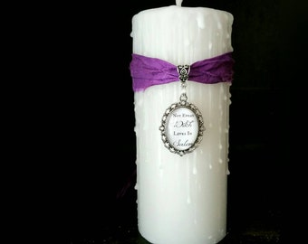 salem candle, not every witch lives in salem, Witch trials, witchcraft pillar candle, witches  gift candle, pendle witch trials white candle