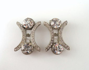 Vintage Matching Pair Art Deco Crystal Rhinestone Dress Clips