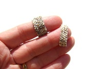 Vanilla Cream and Gold Beaded Ring for Men in Brickwork Style   Peyote Seed Bead Ring in White Cream  Casual Everyday Ring for Man or Woman