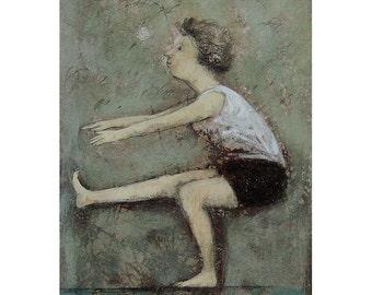 art Woman original painting MATTED illustration mixed media sport people