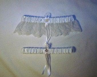 White Satin / White Lace - 2 Piece Wedding Garter Set - 1 To Keep / 1 To Throw