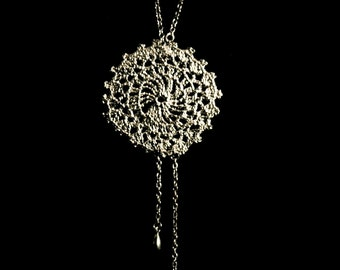 mandala necklace, sterling silver handmade, cast from a crochet doily, anniemjewelry