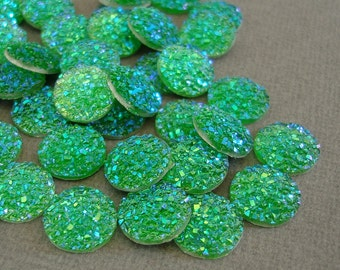 Druzy Resin Sparkly Glitter, Cabochons, Flat Back Round, AB Green Color.
