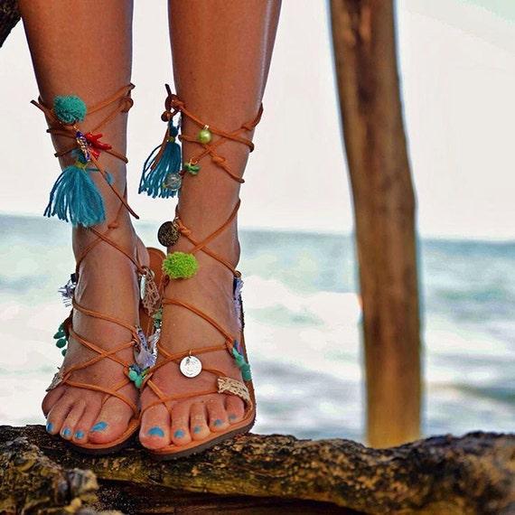 Pompom sandals/Greek sandals /Boho sandals/Handmade greek sandals