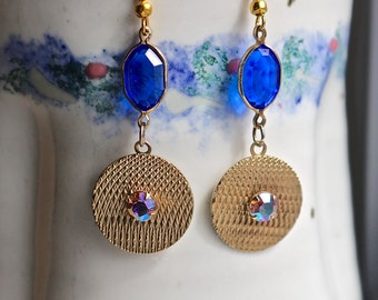 Reclaimed Vintage Earrings, Drop Earrings, Dangle Drop, Pierced, Sapphire Blue, AB Rhinestone, Glass, Gold, Jennifer Jones, OOAK  - Rhapsody