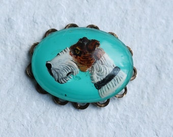 Terrier Dog Cameo Brooch ... Airedale Pin Badge Turquoise