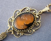 Vintage Whiting & Davis Cameo Pendant w/ Chain Victorian Revival