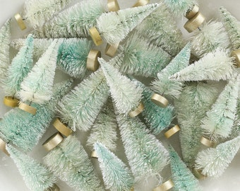 Minty Christmas Forest - One Dozen Mixed Size Frosted Bottle Brush Trees