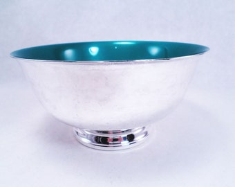 Silver and Green Enamel Bowl by Reed & Barton Vintage 60s